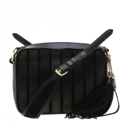 13dd13b8f4ec10 MICHAEL Michael Kors Black Leather Brooklyn Stripe Camera Crossbody Bag