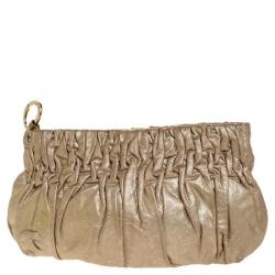MICHAEL Michael Kors Metallic Gold Pleated Leather Clutch