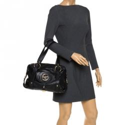 MICHAEL Michael Kors Black Leather Front Pocket Satchel