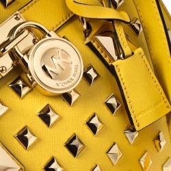 MICHAEL Michael Kors Yellow Leather Studded Hamilton Tote