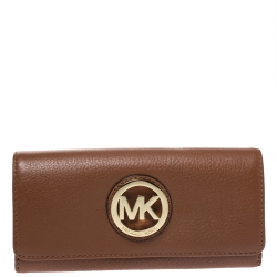 Michael Kors Brown Leather Fulton Flap Continental Wallet