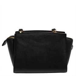 MICHAEL Micheal Kors Black Leather Small Selma Crossbody Bag