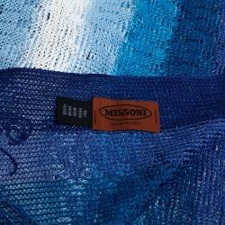 Missoni Blue Fringed Crochet Knit Wrap Scarf
