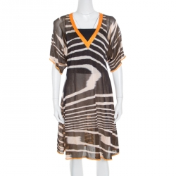 9e16b75c4a6c Missoni Mare Yellow and Brown Striped Knit V Neck Dress L