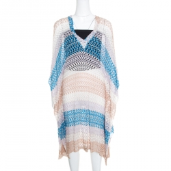 e89c895a9f70 Missoni Mare Perforated Striped Knit V-Neck Kaftan Tunic L