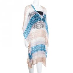 20686cbeccf57 Missoni Mare Perforated Striped Knit V-Neck Kaftan Tunic L