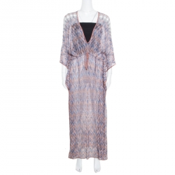 2437c67eee4 Missoni Mare Brown and Blue Patterned Knit Cutout Detail Beach Cover Up Maxi  Dress M