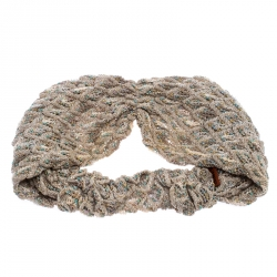 Missoni Ivory Lurex Feathered Crochet Knit Headband