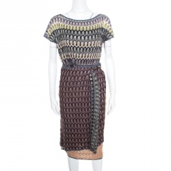 a903d7f9420 Missoni Multicolor Perforated Knit Short Sleeve Wrap Dress M