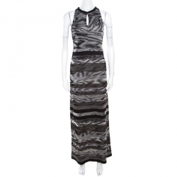 da2f0ff7ac6 Missoni Grey Animal Pattern Lurex Knit Sleeveless Maxi Dress S