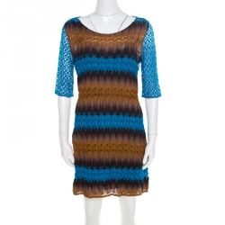 aaa8e5d30b Missoni Blue and Brown Perforated Knit Short Sleeve Dress M