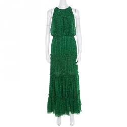 c9fb2626479 Missoni Metallic Green Knit Neck Tie Detail Tiered Maxi Dress and Fringed  Wrap Set M