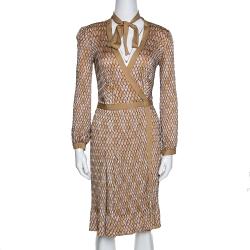 Missoni Yellow Ochre Zig Zag Textured Knit Wrap Dress S