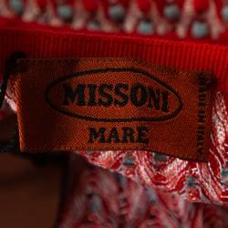 Missoni Mare Orange & Navy Blue Knit Cover Up Mini Dress S