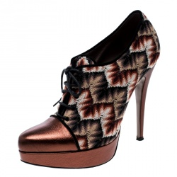 3f9882edf68 Missoni Multicolor Patterned Knit and Metallic Leather Platform Lace Up  Ankle Booties Size 37.5
