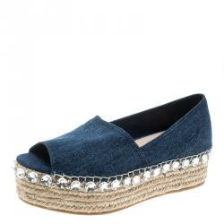 1b602c59a14 Miu Miu Indigo Dark Wash Denim Crystal Embellished Peep Toe Platform  Espadrilles Size 39