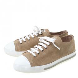 Miu Miu Beige/White Suede Cap Toe Low Top Sneakers Size 38.5