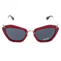 Miu Miu Textured Red/Grey SMU 10N Cat Eye Sunglasses