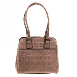 Miu Miu Beige Croc Horn Embossed Leather Tote cf806bb8142b8