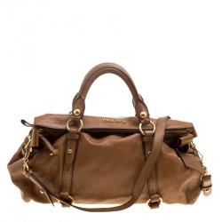 b6c568d3b5d5 Miu Miu Brown Leather Bow Tote