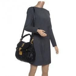 c8067a7d624 Miu Miu Black Matelasse Leather Coffer Hobo
