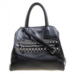 Miu Miu Black Leather Studded Tote 522ec1715a2b2