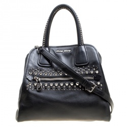 dad8aa0ff368 Miu Miu Black Leather Studded Tote