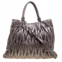 85db30efc8ef Miu Miu Dark Grey Glazed Matelasse Leather Tote