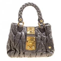 091b8b930dbf Miu Miu Grey Matelasse Leather Coffer Two Way Top Handle Bag