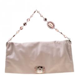 51806a1130 Miu Miu Beige Leather Extra Large Crystal Fold Over Clutch