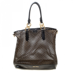 Miu Miu Black Perforated Leather Top Handle Bag 02c88d90bab45