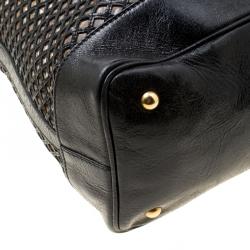 Miu Miu Black Perforated Leather Top Handle Bag
