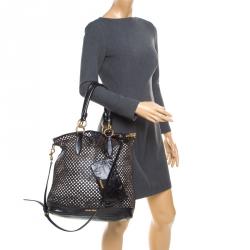 018946baccf4 Miu Miu Black Perforated Leather Top Handle Bag