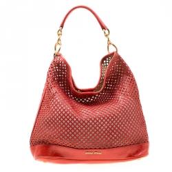 59f6eae9501 Miu Miu Red Perforated Leather Top Handle Bag