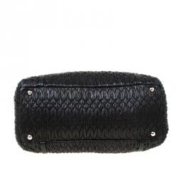 Miu Miu Black Matelasse Nappa Leather Shoulder Bag