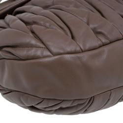Miu Miu Brown Leather Coffer Matelasse Hobo