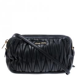 Miu Miu Black Matelasse Nappa Leather Double Zipper Crossbody Bag