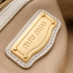 Miu Miu Cream Leather Plissé Tote