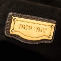 Miu Miu Dark Beige Matelasse Leather Coffer Hobo