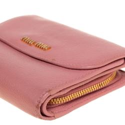 Miu Miu Pink Leather Madras Compact Wallet