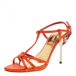 319434ebc3e6df Miu Miu Orange Satin Crystal Embellished Heel T Strap Sandals Size 37