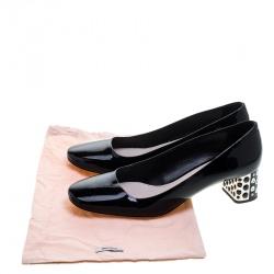 Miu Miu Black Patent Leather Crystal Embellished Block Heel Pumps Size 40