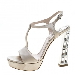 Miu Miu Beige Satin T Strap Crystal Embellished Heel Peep Toe Platform Sandals Size 36.5