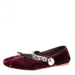 c83c56c225e Miu Miu Bordeaux Velvet Crystal Embellished Strap Ballet Flats Size 42