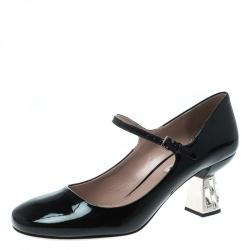 24b8f1a6920b Miu Miu Black Patent Leather Crystal Embellished Heel Mary Jane Pumps Size  39