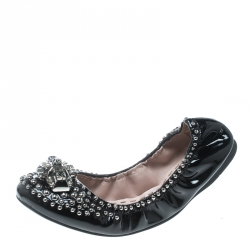 a6a53bbdf290c Miu Miu Black Studded Patent Leather Crystal Embellished Ballet Flats Size  37.5
