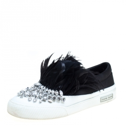 d1414fc71f3 Miu Miu Black Crystal Embellished Satin With Marabou Feathers Slip On  Sneakers Size 38