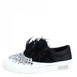 eaab8c64b9f Miu Miu Black Crystal Embellished Satin With Marabou Feathers Slip On  Sneakers Size 38