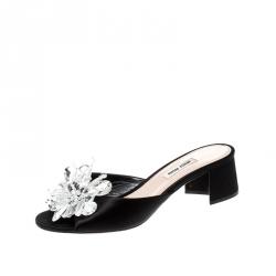 Miu Miu Black Satin Crystal Embellished Peep Toe Block Heel