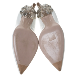 Miu Miu White Patent Leather Crystal Heel Pumps Size 38